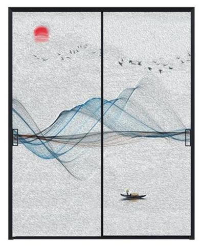 山水画极窄边框推拉门效果图