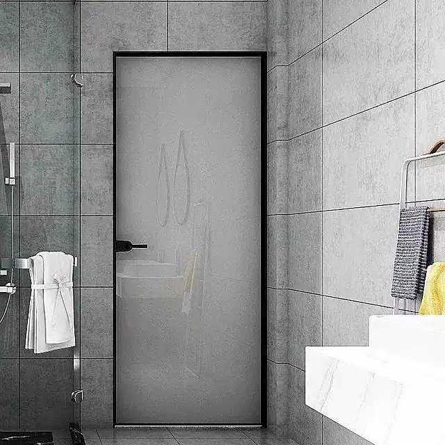 16极窄边框平开门北欧厨房细边框极简玻璃门隔断黑色吊轨推拉门