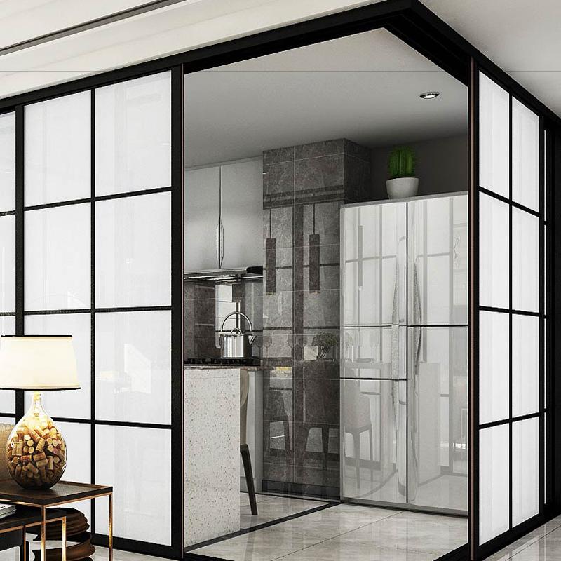 转角隔断90度推拉门/开放式厨房门/钛合金定制窄细边框极简玻璃门