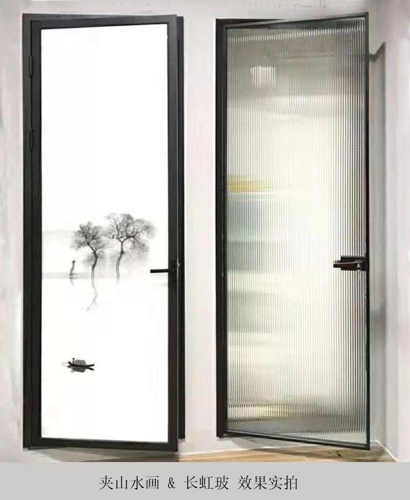 16极窄黑框双层钢化玻璃平开门,家装界网红款门