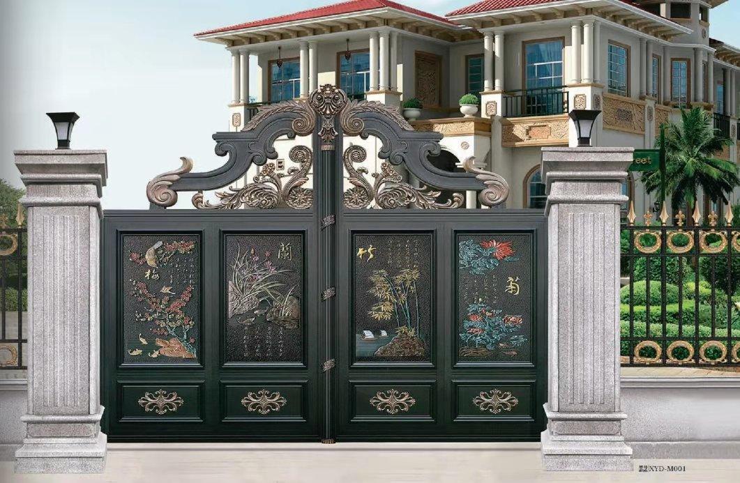 铝合金大门效果图,别墅大门用什么材料好?推荐恒置源铝艺大门