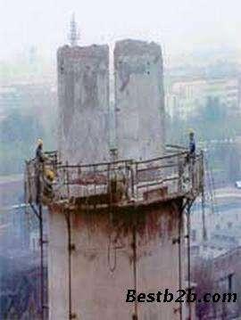 150米水泥烟囱人工拆除工程