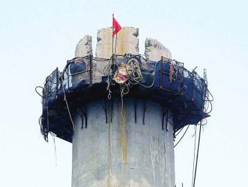水东阳市水泥烟囱人工拆除