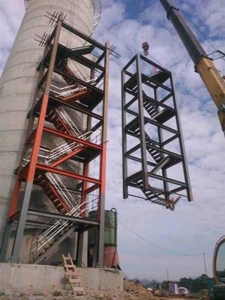 烟囱安装爬梯,平台护网,避雷针,航标灯