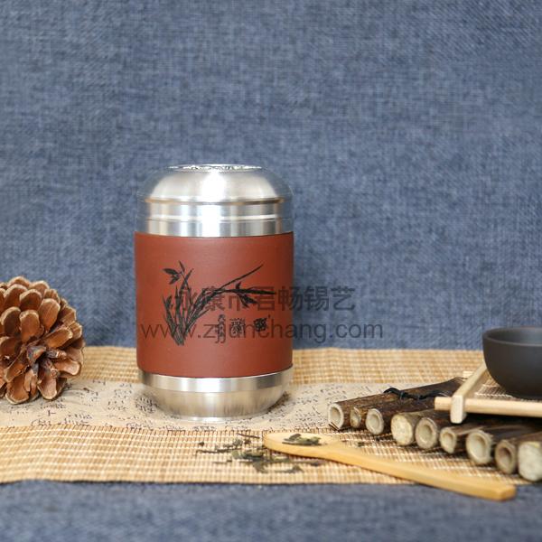 紫纱茶叶锡罐