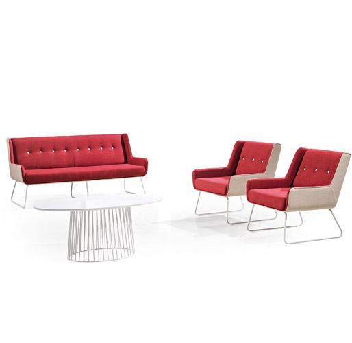 红色组合沙发