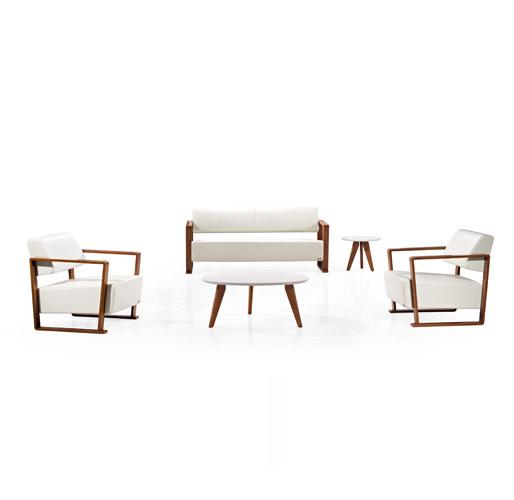 白色实木办公沙发