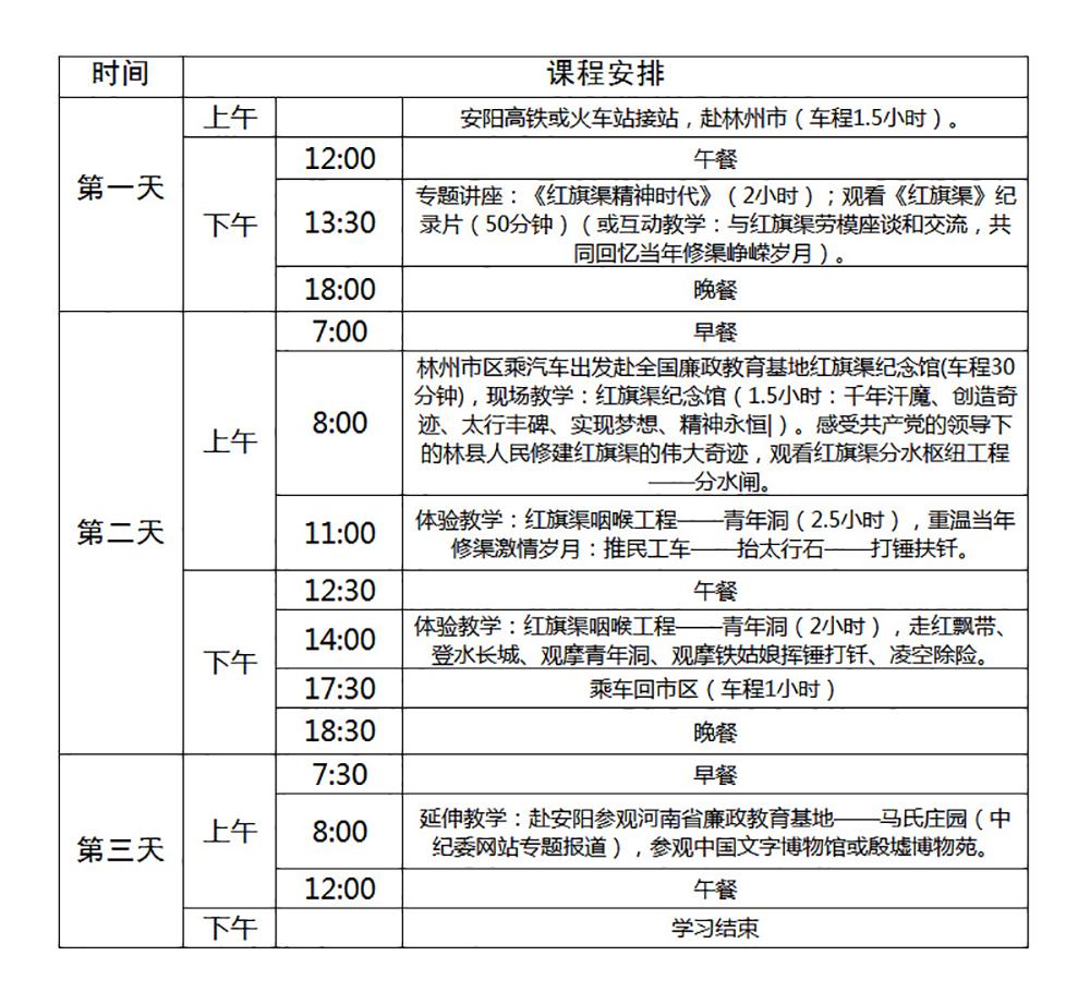 红旗渠培训三日(B)课程