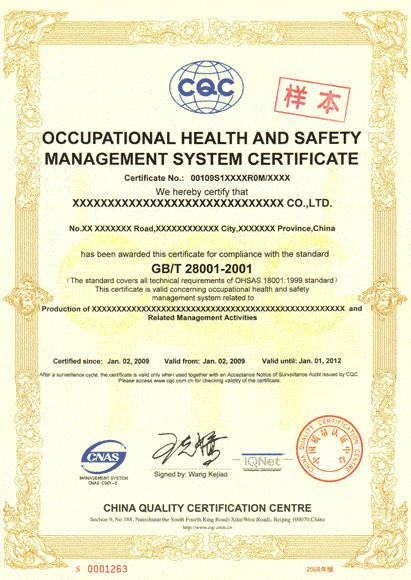 OHSAS18001职业健康安全管理体系