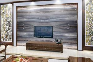 黑白灰石材电视背景墙