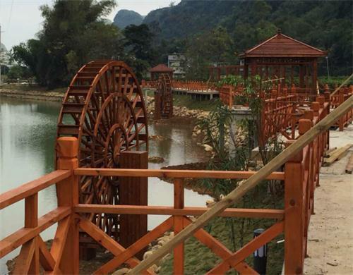 景观防腐木水车