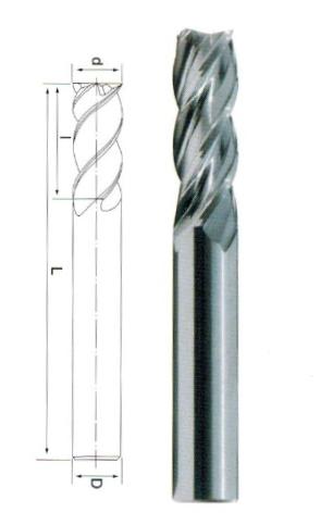 整体硬质合金四刃不等螺旋直柄立铣刀(标刃)