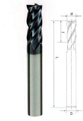 整体硬质合金4刃铣刀