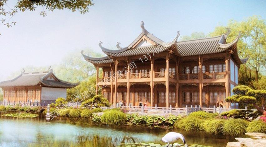 古建筑效果图-徽派中式古建筑工程