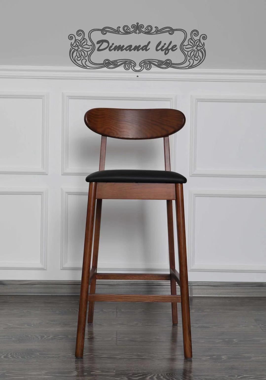 吧台牛角椅    胡桃色