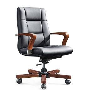 老板實木真皮椅