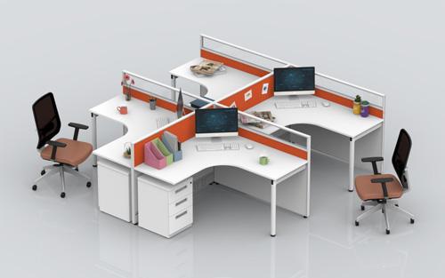 玻璃屏风位办公桌-BHLV004