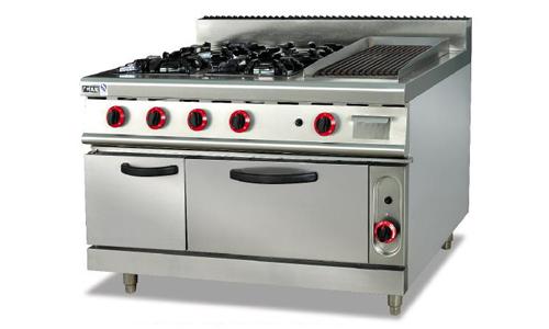 立式燃气四头煲仔炉连烤炉连焗炉