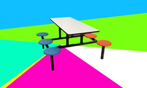 新疆六人玻璃钢圆凳餐桌