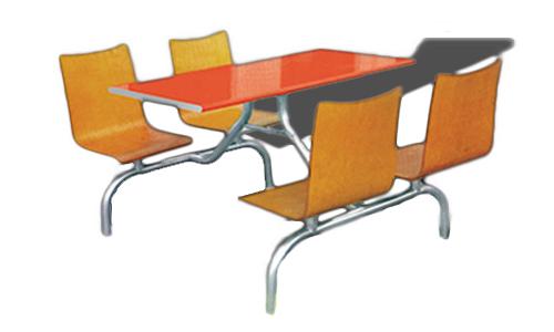 四人木面椅快餐桌