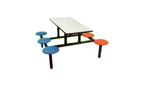 六人玻璃钢圆凳餐桌