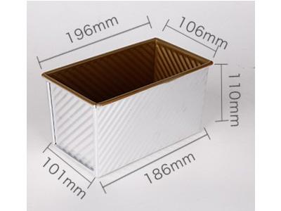 三能450g金色波紋吐司盒-本體