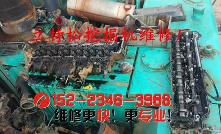 神钢挖掘机SK230-6发动机异响,排气管烟色较大