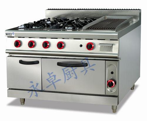 立式燃气四头煲仔炉连烧烤炉连焗炉