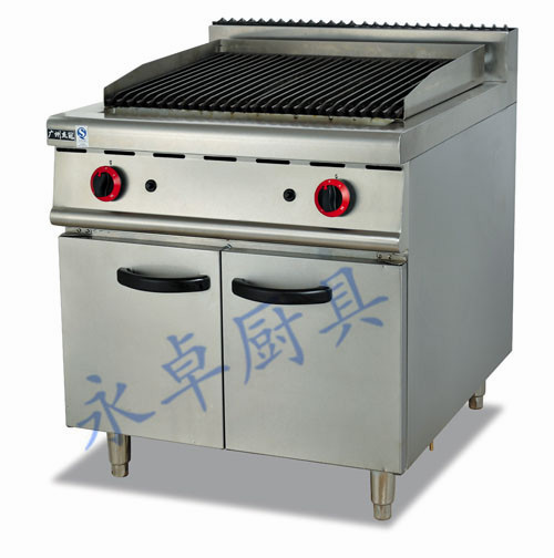 立式燃气火山石烧烤炉连柜座