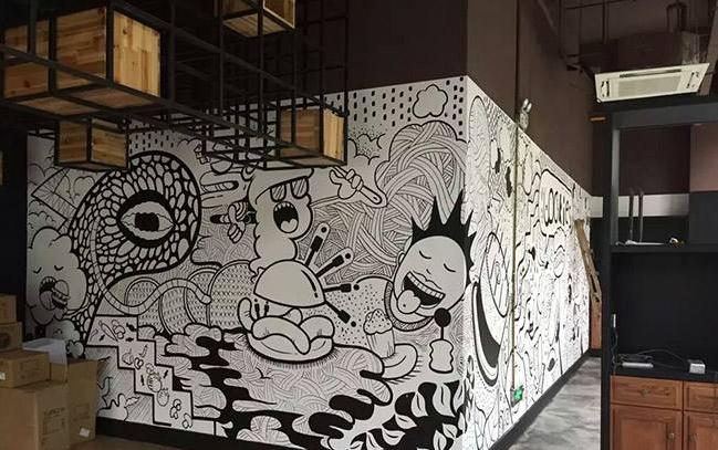 奶咖店主题墙绘
