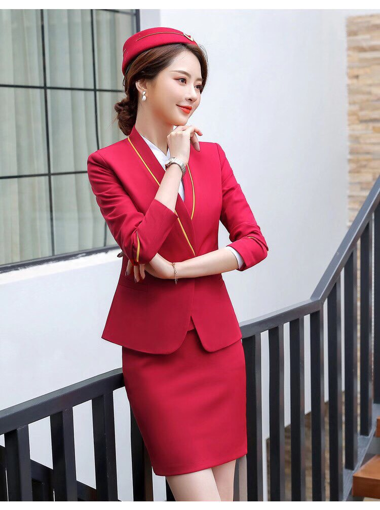 秋裝空姐製服(紅色)