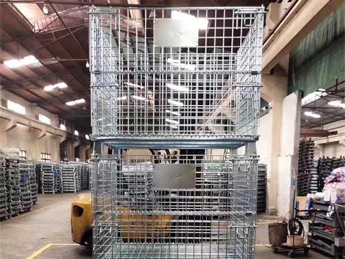 折叠式仓库笼堆叠