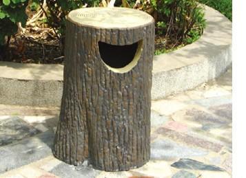 公园水泥仿木垃圾桶
