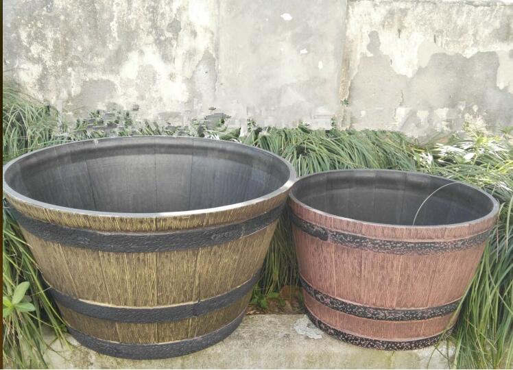 仿木塑料木桶花盆