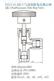 YZ12-41气动管路角式截止阀