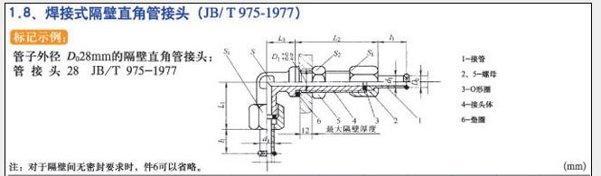 JB/T975-1977焊接式隔壁直角管接头