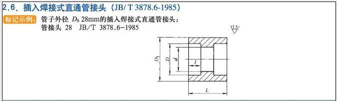 JB/T3878.6-1985插入焊接式直通管接头