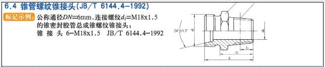 JB/T6144.4-1992锥管螺纹锥接头