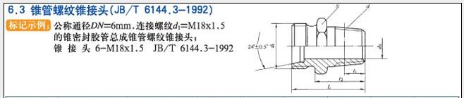 JB/T6144.3-1922锥管螺纹锥接头