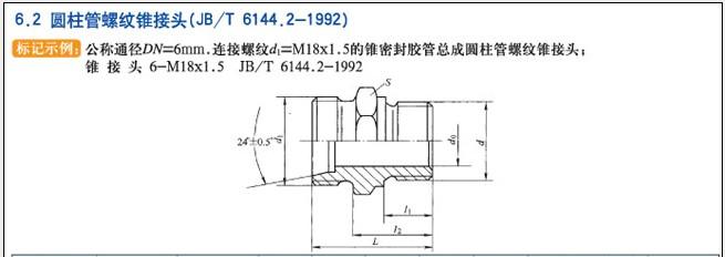 JB/T6144.2-1922圆柱管螺纹锥接头