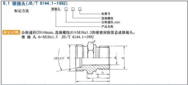 JB/T6144.1-1922锥接头