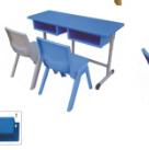 双人单层开口升降课座椅