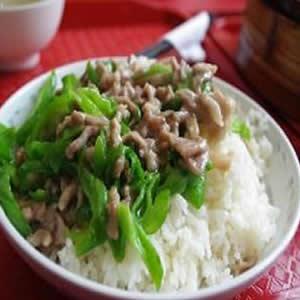 青椒肉丝盖饭