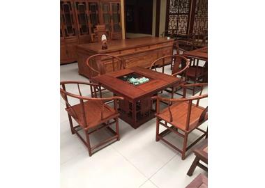 鲁九红方茶桌非洲花梨