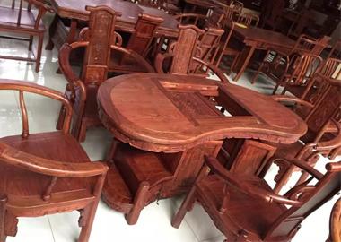 鲁九红腰形茶桌非洲花梨