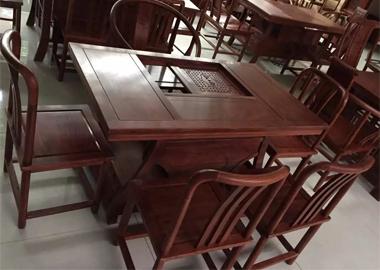 鲁九红元宝茶桌非洲花梨